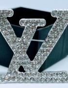 Duża broszka LV srebrna cyrkonie...