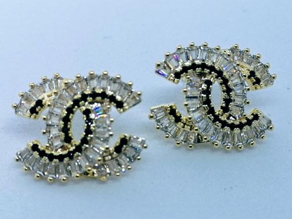 Kolczyki Złote kolczyki cc kryształki srebrna igła styl chanel