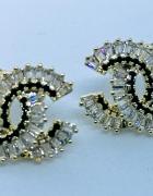 Złote kolczyki cc kryształki srebrna igła styl chanel...