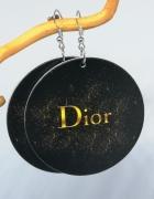 Kolczyki duże drewniane malowane koła napis dior...