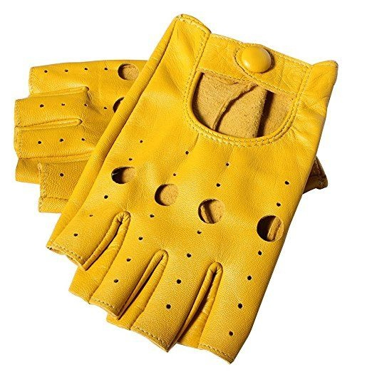 Rękawiczki skórzane bez palców kolorowe najlepiej żółte lub fioletowe