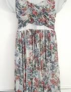 Rozkloszowana sukienka w kwiaty ASOS 46 XXXL 3XL szyfon zwiewna...