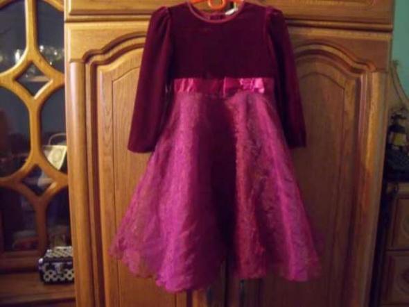 Śliczna bordowa suknia organza welur 104