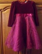 Śliczna bordowa suknia organza welur 104...