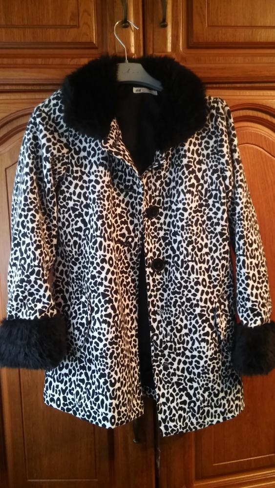 Płaszcz czarno biały panterka 146 H&M