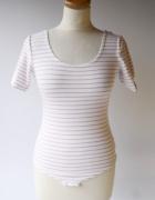 Body Paski Różowe Białe Gina Tricot S 36 Bluzka Paseczki...