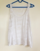Lekko prześwitująca przeźroczysta bluzka oversize biała blogere...