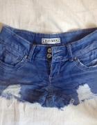 Szorty spodenki jeansowe jeans granatowe postrzępione nogawki X...