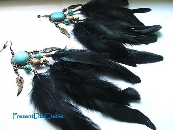 Kolczyki turkusy boho hippie etno pióra czarne kolczyki łapcz snów