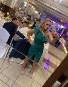 Sukienka butelkowa zieleń ślub wesele M asymetryczna z falbanką