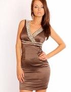 Śliczna sukienka zdobiona cyrkoniami BRĄZOWA M