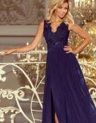 LEA długa suknia koronkowy dekolt GRANATOWA
