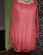 Koralowa sukienka mgiełka 38...