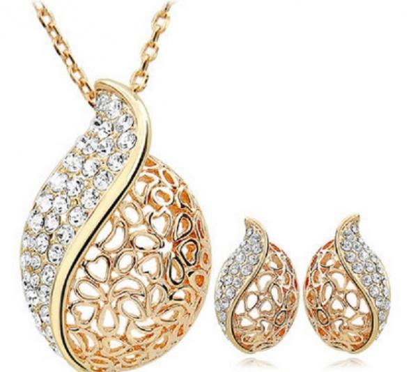 Złoty Komplet łańcuszek wisiorek kolczyki cyrkonie