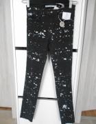 Zara nowe spodnie rurki plamy farby destroyed...