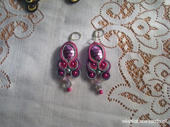 Śliczne fioletowe kolczyki sutasz kryształ