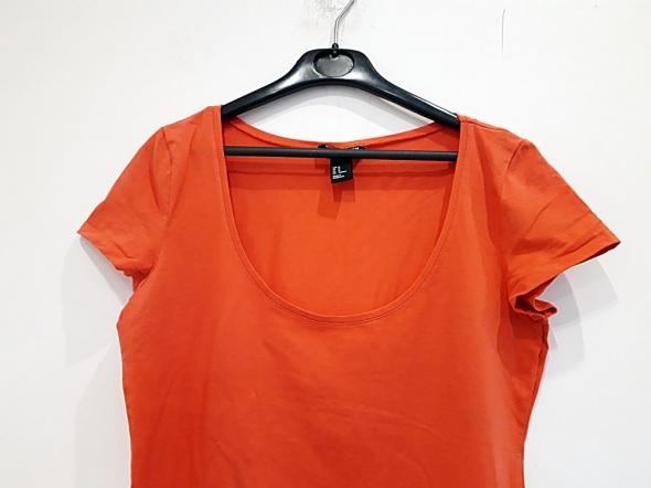 koralowa koszulka H&M Basic M