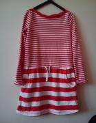 śliczna marynarska czerwona sukienka H&M