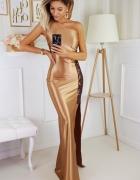 Piekna świetlista sukienka złota XS S M L XL...