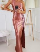 Piekna świetlista sukienka RÓŻOWA XS S M L XL...