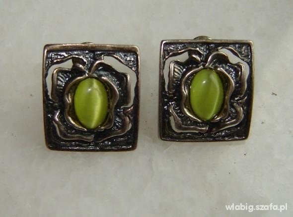 Kolczyki kocie oko zielone kolczyki