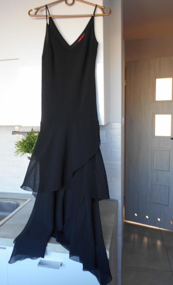 CHR suknia maxi elegancka wieczorowa czarna falbany