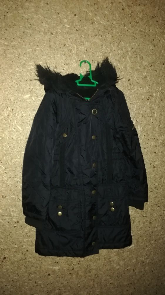 Czarna zimowa kurtka płaszcz 110 116 cm 5 6 lat