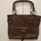 brązowa skórzana torba