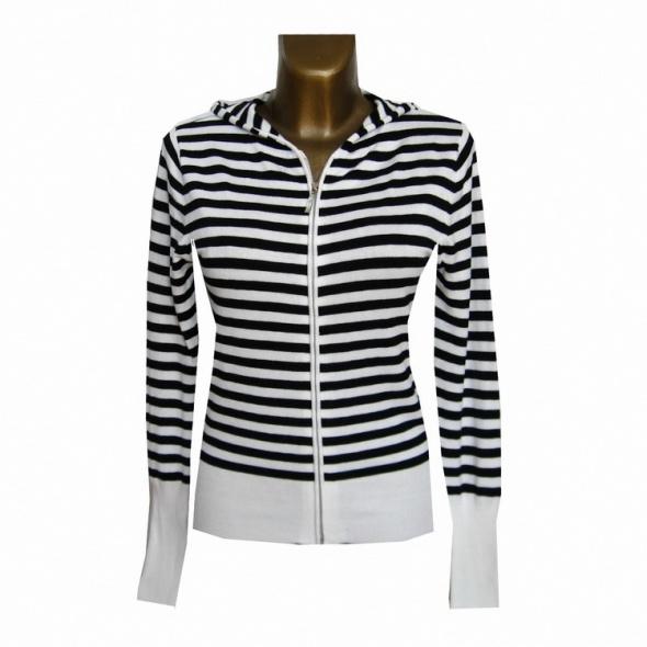 Bluzy Biała Czarna Bluza Sweter w Paski 38 M