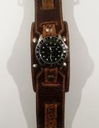 Nowy skórzany zegarek Red Monkey brązowy...