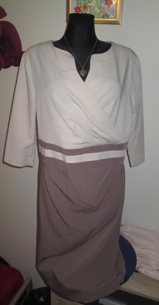 Elegancka sukienka damska kakao ecru r 48