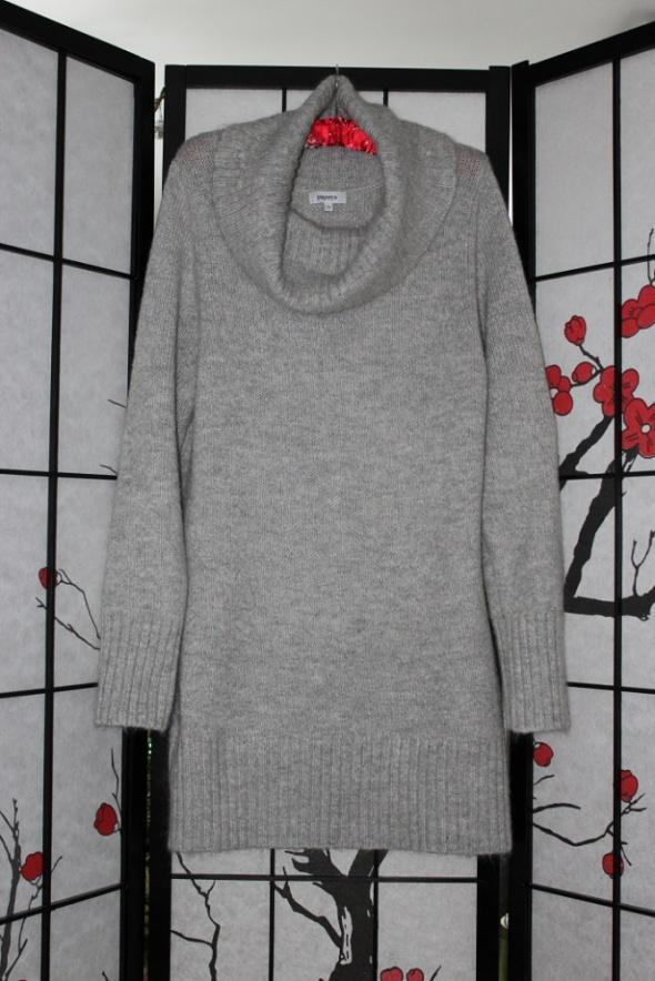 sweter tunika sukienka gruby ciepły siwy szary