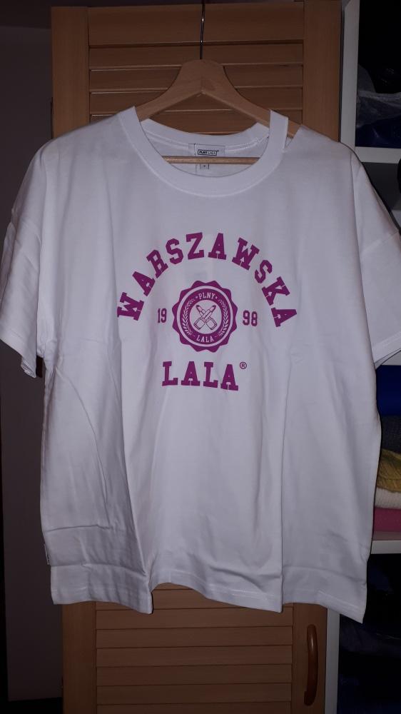 Nowa koszulka Plny Lala Warszawska LALA Boyfriend White