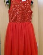 Czerwona sukienka z cekinami XS...