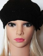 Czapka beret damski kolor czarny