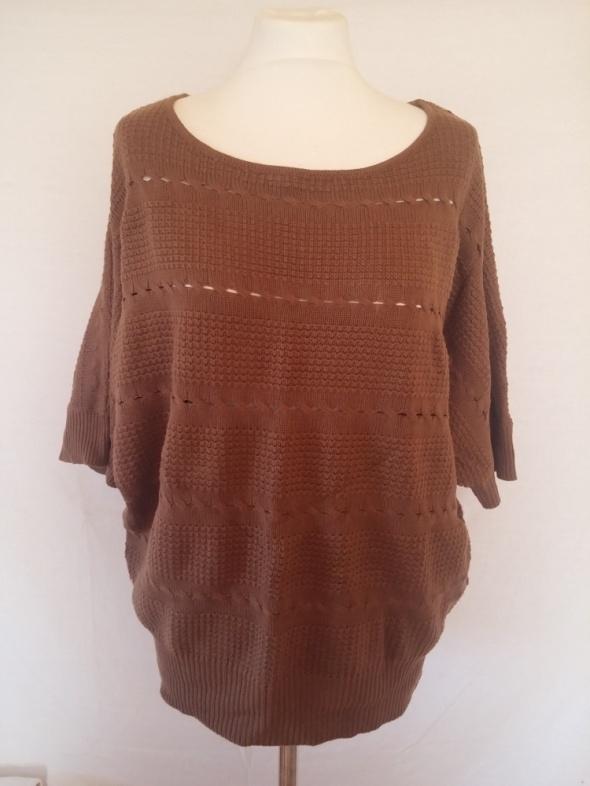 Camaieu sweter oversize ażur brąz 40 42