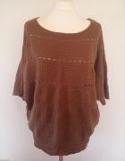 Camaieu sweter oversize ażur brąz 40 42...