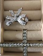 Pierścionki srebrzone złocone 13 cyrkonie...