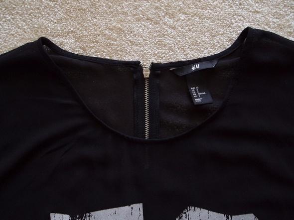 Czarna bluzka mgiełka z numerem HM 34 36 koszulka w Bluzki