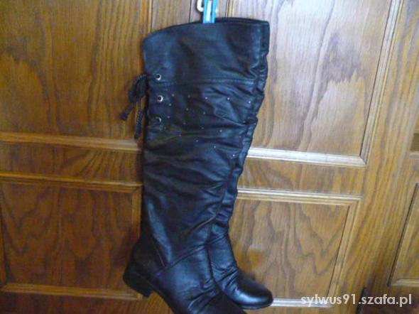 Czarne za kolano z dżetami rozmiar 37
