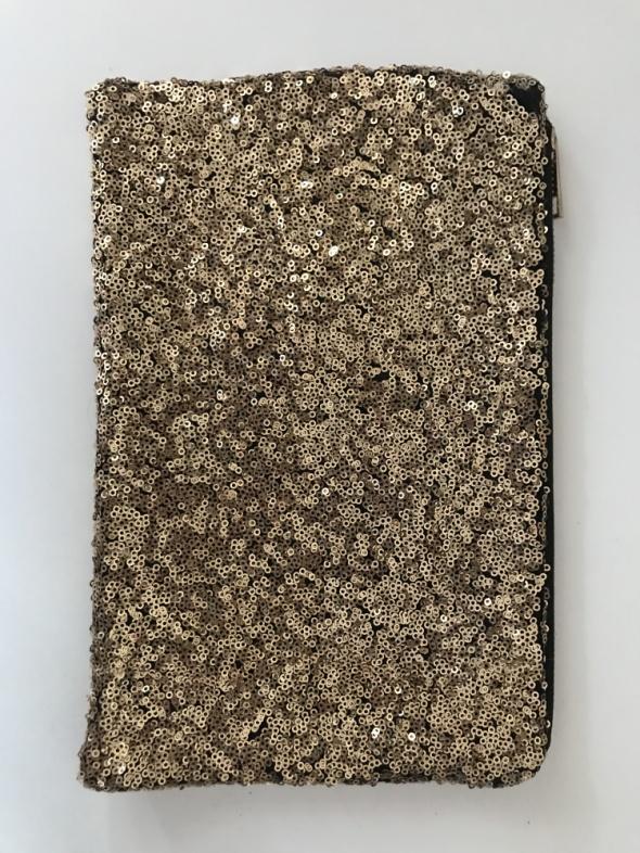 Kosmetyczna cekinowa złota kopertówka mała torebka saszetka