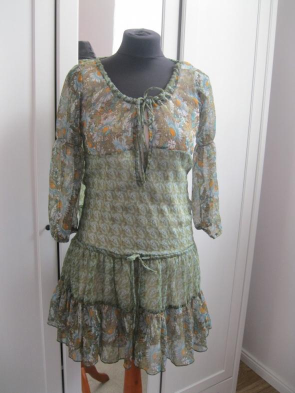 sukienka szyfonowa CHILLI PEPPER S kwiaty zielona
