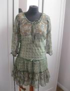 sukienka szyfonowa CHILLI PEPPER S kwiaty zielona...