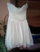 sukienka kremowa wesele poprawiny M