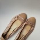 Złote cieliste balerinki Tamaris 39 skórzane baletki beżowe