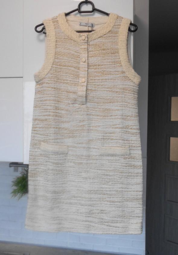 Mango nowa sukienka tweed kremowa...