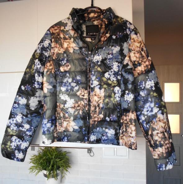 Amisu nowa kurtka puchowa kwiaty floral