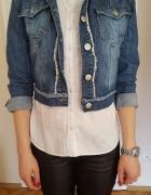 Jeansowa kurtka katana z długim rękawem