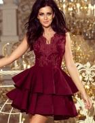 Charlotte sukienka koronkowa bordowa XS S M L XL falbany...