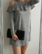 Primark szara melanż cold shoulder sukienka S...